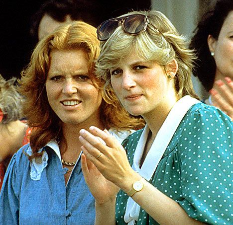 A young Sarah Ferguson with Diana