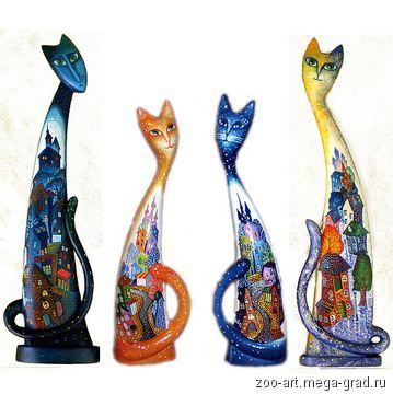 Кошки с городским пейзажем-3. Скульптура. Дерево. Ручная роспись. - Сувениры и…