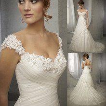 Design Vintage Wedding Dress Lace Cap Sleeve Beaded A Line Bridal Dresses Wedding Gowns Women Vestidos de Noivas 2016