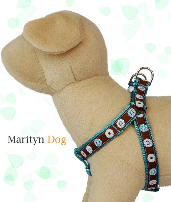 Dog harness mod flower turquoise ribbon pet by MaritynDog on Etsy, $32.00