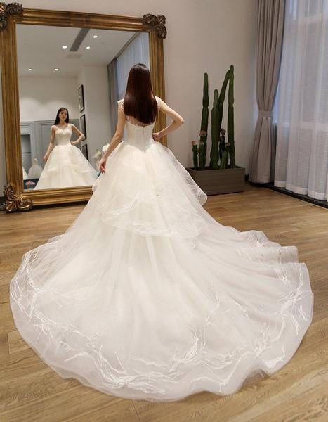Два ремни тюль кружева линии длинный хвост свадебных платьев, на заказ платье Сделана Длинное свадебное, дешевые свадебные платья, WD204