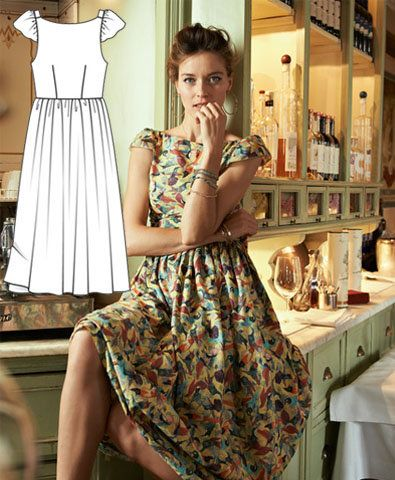 Featured Sewing Pattern ~ Open Back Dress FREE PDF download pattern from BURDA. So cute! Can totally make this at knee length too!