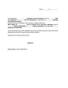 Lettre d'attestation sur l'honneur d'hébergement - modèle de lettre gratuit, exemple de lettre ...