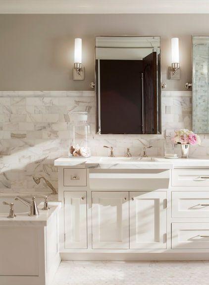 traditional bathroom by ScavulloDesign Interiors, Benj Moore Revere Pewter HC-172