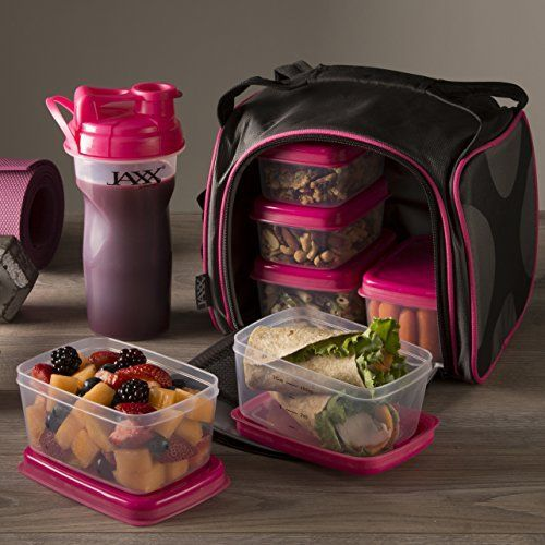 Jaxx Pack with Portion Control Containers & Shaker Cup - The perfect way to fuel your day! Great for work or the gym. Available in pink or red. Browse the full selection at www.fit-fresh.com  #fitfresh
