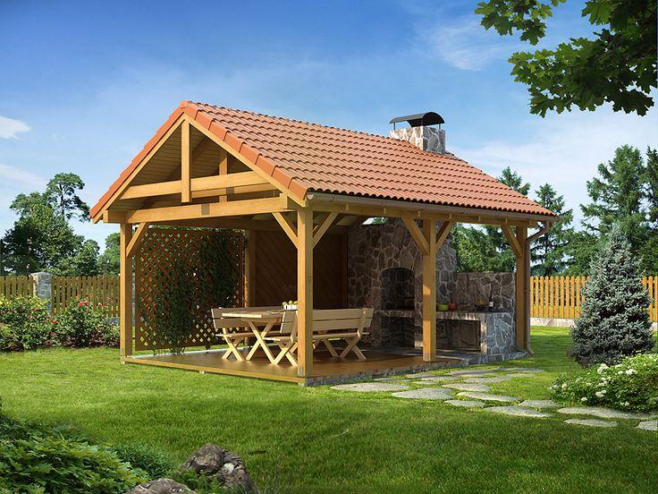 Altanka ogrodowa o tradycyjnej stylistyce z grillem i zapleczem do przygotowania posiłków.