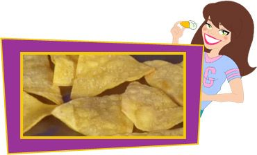 Crazy-Good Corn Chips (12 chips!)  -    (3pts+,120 calories, 3g fat, 312mg sodium, 22g carbs, 3g fiber, 1g sugars, 1g protein)