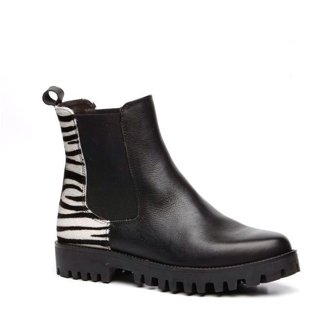 Zwarte booties met zebraprint www.manfield.nl