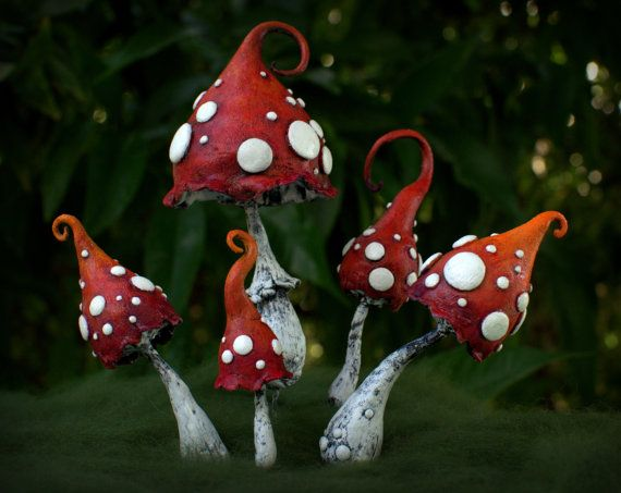 Mama red white Amanita fantasy mushroom polymer clay by Petradi