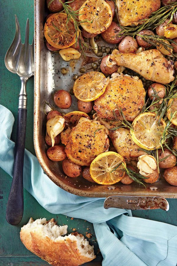 Lemon-Rosemary-Garlic Chicken and Potatoes - Easy One-Dish Dinners - Southernliving. This winner of a chicken dinner is our new favorite roasting-pan supper for weeknights or easy entertaining with friends.     Recipe: Lemon-Rosemary-Garlic Chicken and Potatoes