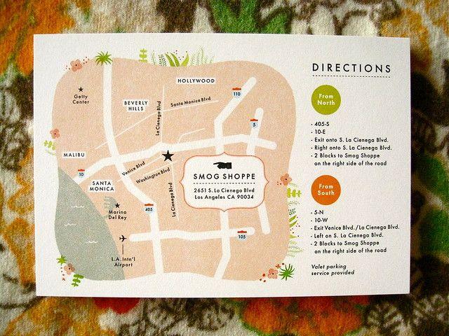 """Indigo Bunting """"Joo & Jacob"""": Wedding invite map"""