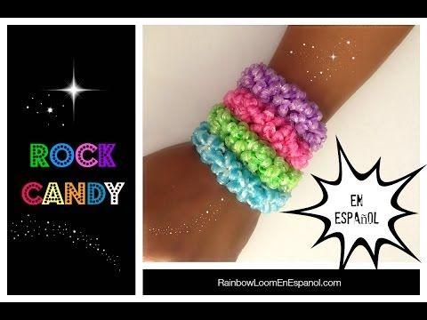 Rainbow Loom en ESPAñOL - Como Hacer Pulseras de Ligas Rock Candy DIY - YouTube