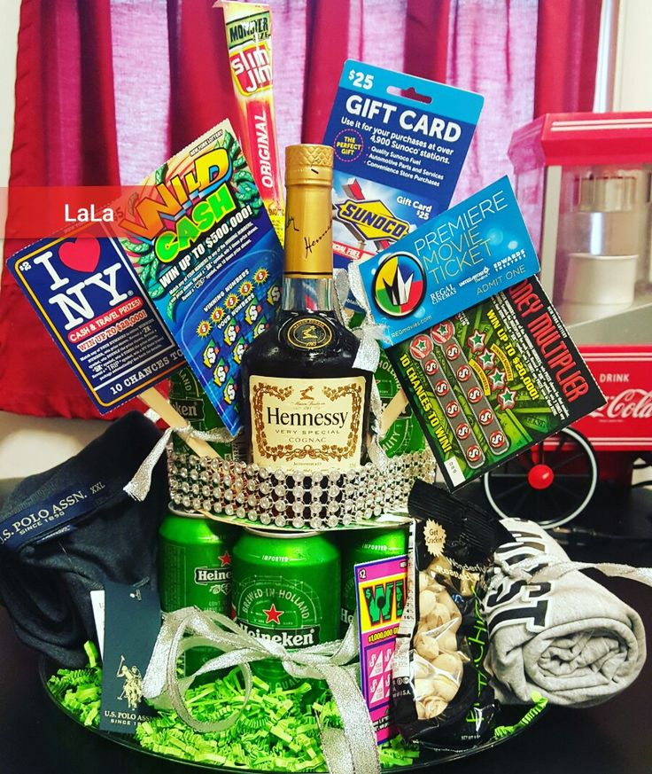 """Beer """"cake"""" filled with the things he likes... great for Father's Day or birthdays. I used popsicle sticks to hold up the lotto tickets and gift cards..."""