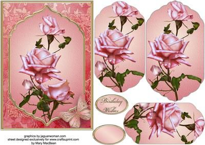 """Pink Roses Fancy Pyramid Card on Craftsuprint designed by Mary MacBean - 5"""" x 7"""" card front with a fancy-shaped pyramid featuring pretty pink roses. There is a Birthday Wishes sentiment or a blank tag for your own message.  - Now available for download!"""