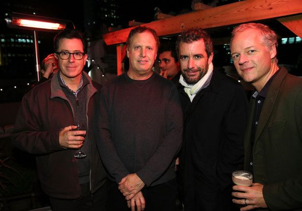 Stephen Colbert, Executive Vice President of Comedy Central Enterprises, Mitch Fried, Jason Jones and Executive Vice President, Programming and Multiplatform Strategy, David Bernath attend the The New York Comedy Festival Annual Kick-Off Party at The Refinery Hotel on November 7, 2013 in New York City.