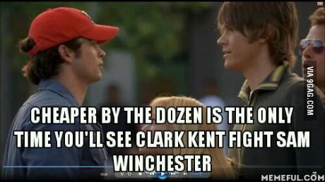 """Remember that one time Lizzie McGuire had to break up a fight between Superman and Sam Winchester?"" Good grief..."