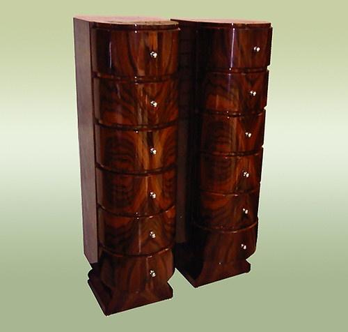 art deco furniture design. pair walnut high chiffoniers art deco style furniture design