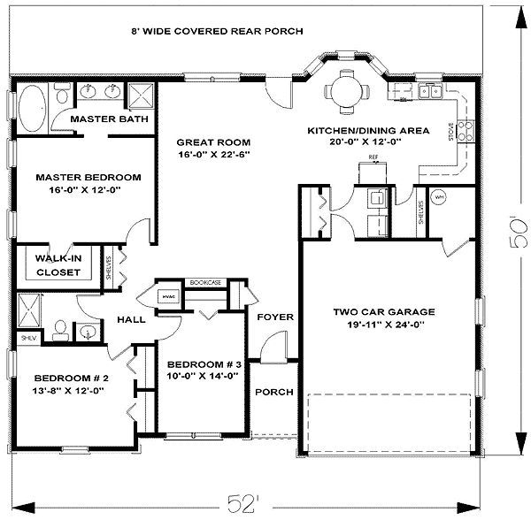 L Shaped Master Bathroom Layout: Plan 2554DH: L-Shaped Living Area