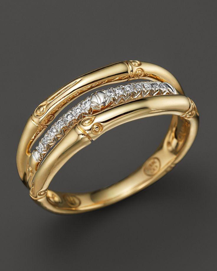 John Hardy Bamboo 18K Yellow Gold Diamond Pavé Ring   Bloomingdale's