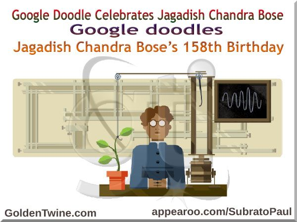 Did you miss out the latest Google doodle celebrating Jagadish Chandra Bose's 158th Birth Anniversary? If yes, check it out on GoldenTwine Blog:  Google Doodle Celebrates Scientist Jagadish Chandra Bose | Google doodles Sir Jagadish Chandra Bose's 158th birthday. http://www.goldentwine.com/blog/google-doodle-celebrates-scientist-jagadish-chandra-bose  Comments on blog post would be highly appreciated and reciprocated. Thanks!
