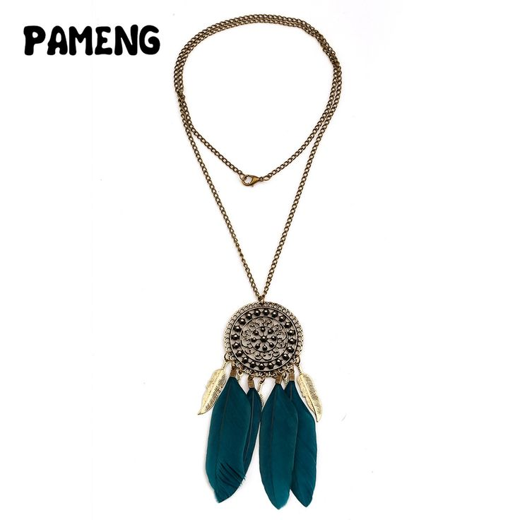 Pameng Hollow carved retro Feather Necklace Pendant for women New Bohemia dream catcher Jewelry