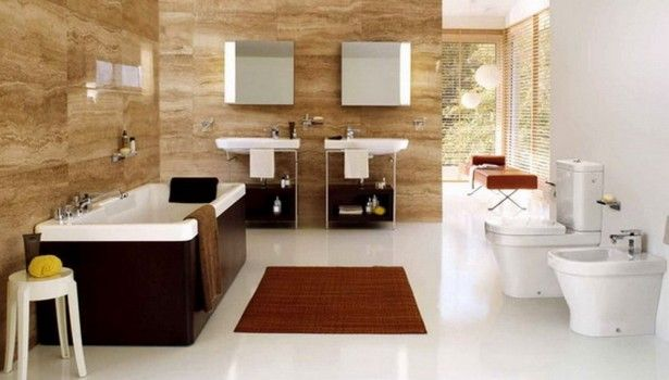Bathroom Modern Master Bathroom Tile Fresh Brown And White Decorated Themes With Bath Tub Double Sink And Mirror Also Rug White Flooring Wonderful Modern Bathroom Tile Ideas That You Feel In Private Heaven