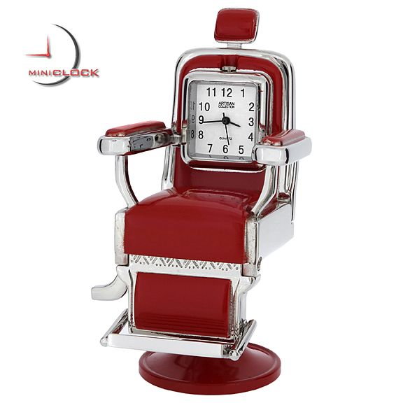 $24.99 Barber Time!  A wonderful rendition of a classic Barber Chair miniature. This is a high quality all metal collectible mini clock. The seat itself has a handle that spins and a pivot so that the chair will tilt forward and back to display the quality quartz timepiece at varying angles. This very cool miniature is finished in brilliant chrome and hardened red enamel to represent seat cushions.