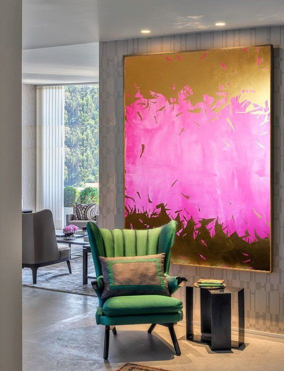 Modern Art Painting Wide Art Pink Painting Gold Painting Abstract Art Acrylic Painting Oil Painting Large Size Painting On Canvas Wall Art