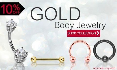 10% off all gold body jewelry  Freshtrends Body Jewelry Online | Tongue Rings, Belly rings and more