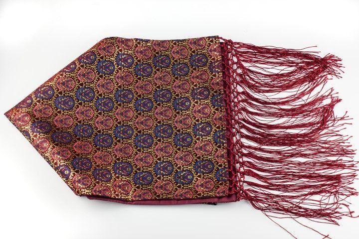 Silk brocade scarf Carmine red Hazelnut style - EmKha
