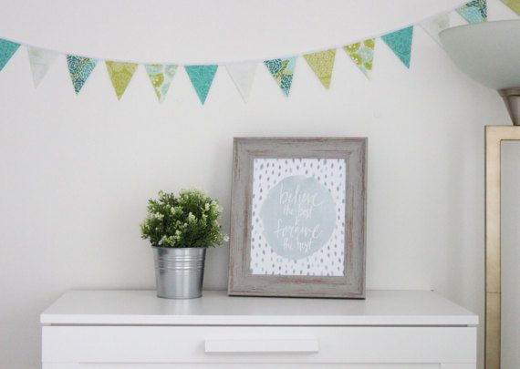Water Hyacinth Mini Fabric Bunting. Blue, green, and white banner with floral print. #theevergreencollective