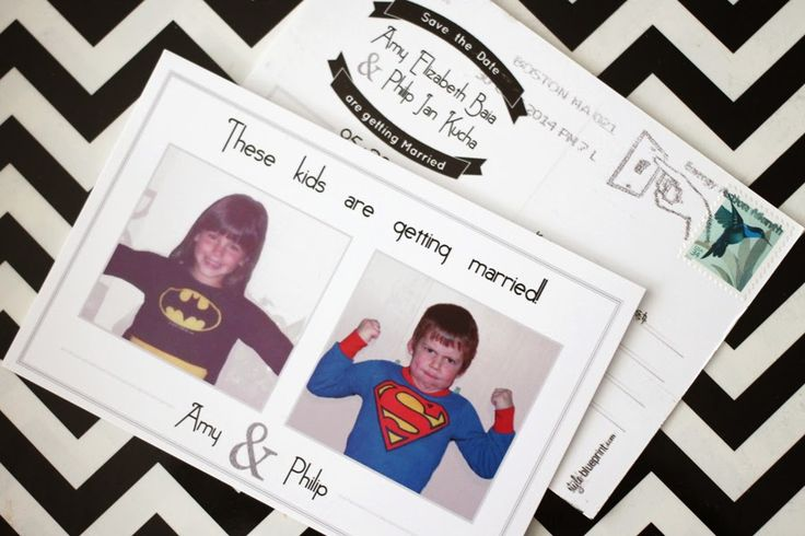 Save the Date Postcards, with superhero childhood photos  //  black, white and silver, double-sided  //  style-blueprint.com