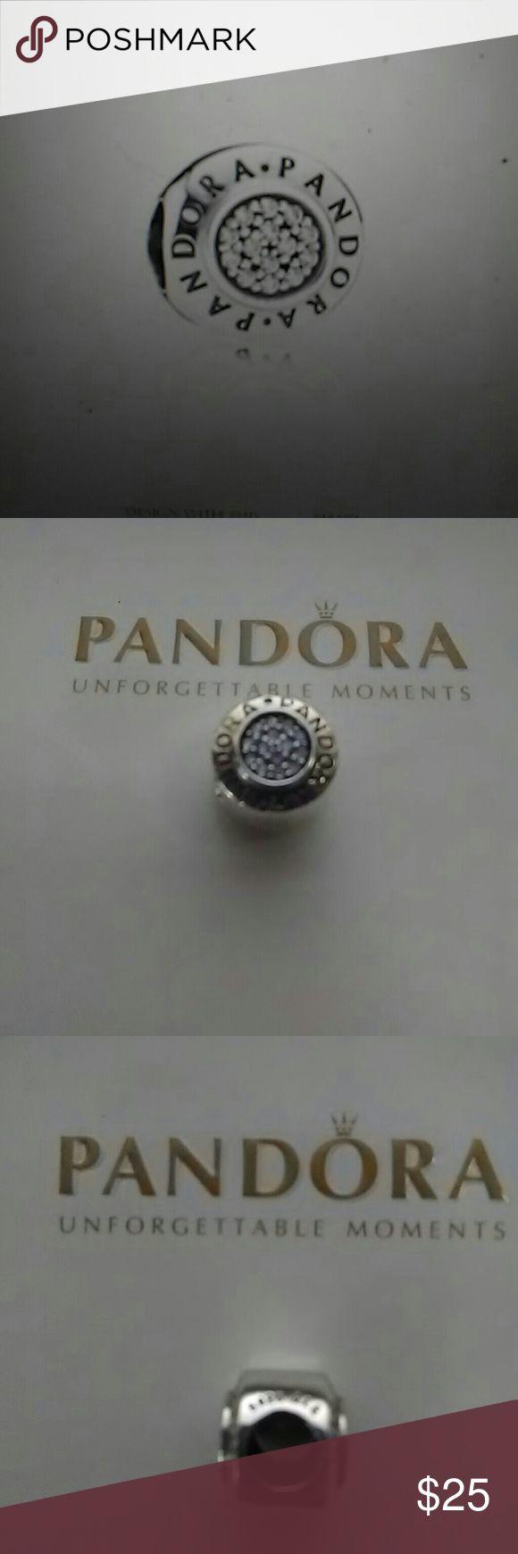 PANDORA SIGNATURE CLEAR CZ Pandora's silver & Cz signature charm.                        Item # 791414CZ PANDORA Jewelry