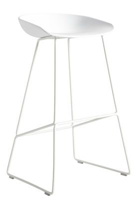 Tabouret de bar About a stool / H 65 cm - Piètement luge acier Blanc - Hay - Décoration et mobilier design avec Made in Design