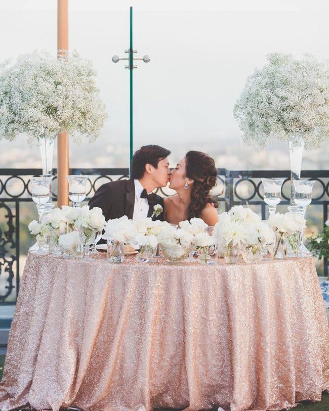 blush pink table sequin for sweetheart table... love the baby's breathe in the back as well