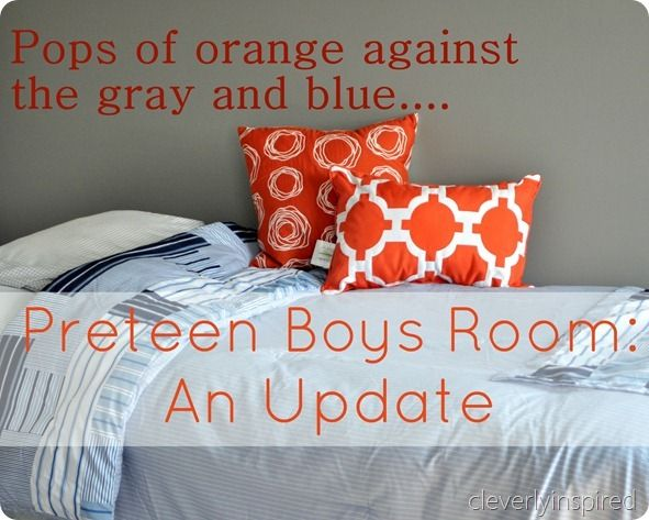 creating a preteen boys room...gray, blue, orange @cleverlyinspired  nice gray color listed...