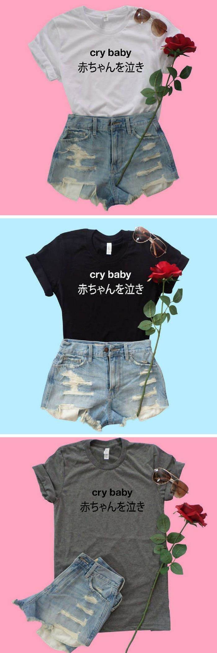 Kawaii cry baby top in Harajuku style with writing in Japanese. Very cool. Love this look as a baggy tee tucked into jean shorts. very tokyo style! #ad #harajuku #japanese #japanesefashion #kawaii
