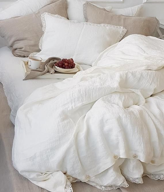 Linen Lace Bedding Set In Off White Or Natural Flax Etsy Lace Bedding Lace Bedding Set Bed Linens Luxury