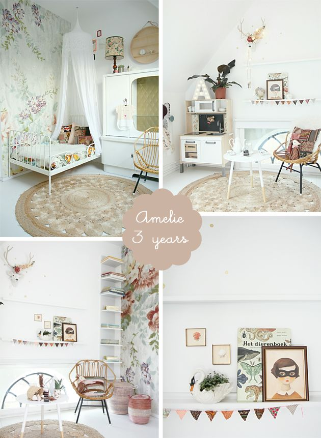 my room: amélie | romantic boho girl's bedroom | floral wallpaper | iron bed | canopy | wicker