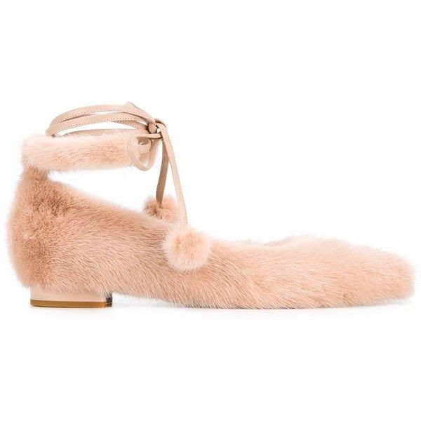 Natasha Zinko lace-up ballerina flats (3,935 CNY) ❤ liked on Polyvore featuring shoes, flats, beige, ballet flats, leather shoes, ballerina flats, leather ballerina flats and ballet flat shoes