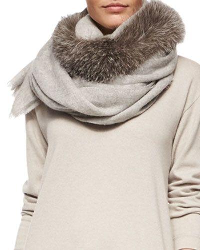 Charlotte Simone Candy Cane Fox Fur Scarf, Black/Gray