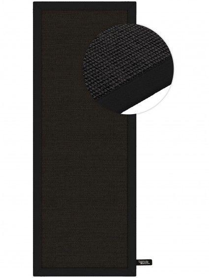 Teppich Sisal Läufer Schwarz 68x300 cm