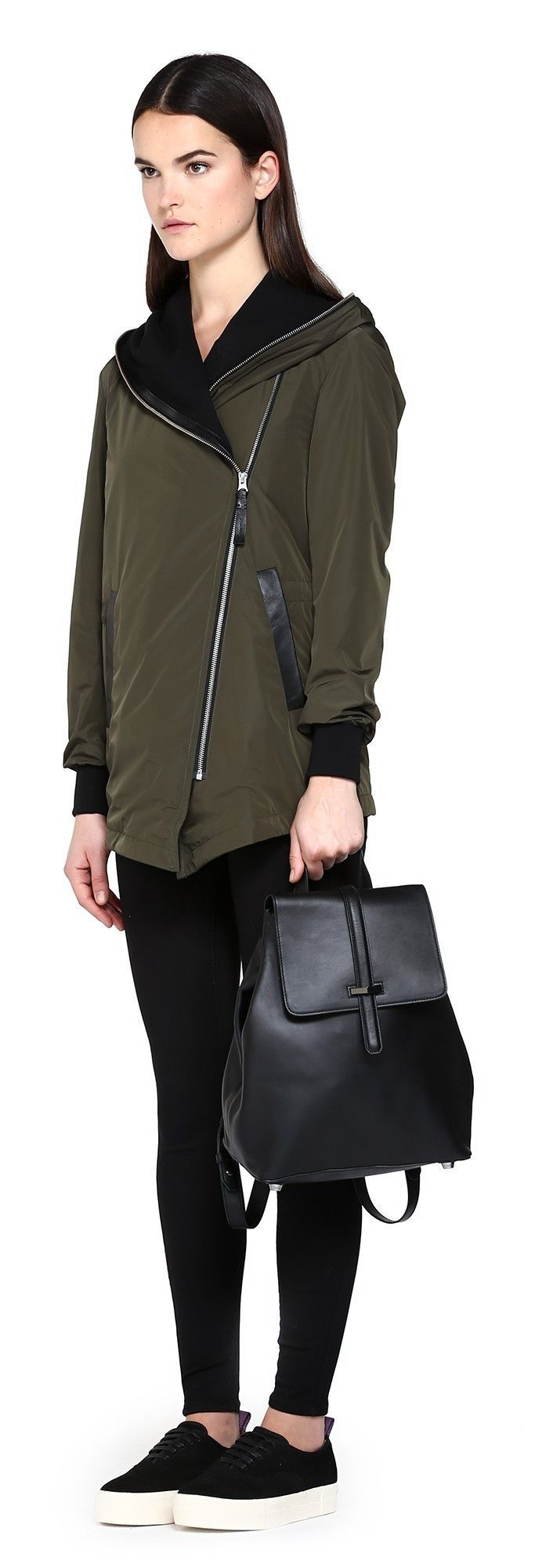 NIKA ARMY RAINCOAT WITH WATERFALL HOOD | FOR WOMEN | Mackage #RaincoatsForWomenHoods #RaincoatsForWomens