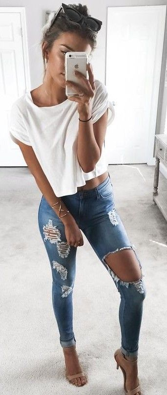 White Crop Top, Ripped Jeans, Nude Sandals   Kelsey Floyd
