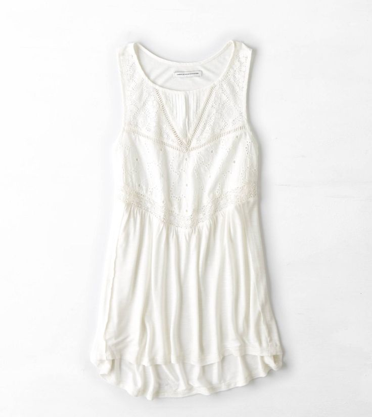 Chalk AEO Lace Top Tank