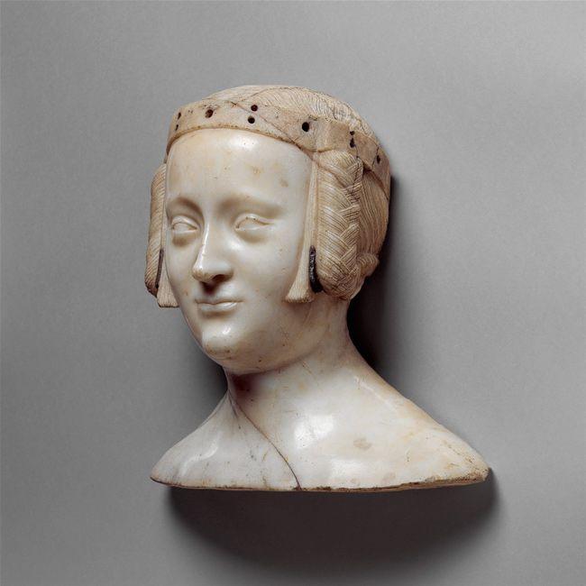 Bust of Marie de France, ca. 1381 Jean de Liège (Franco-Netherlandish, ca. 1330–1381) Île-de-France, Saint-Denis, Abbey Church of Saint-Denis, Chapel of Notre-Dame-la-Blanche Marble, lead insets,
