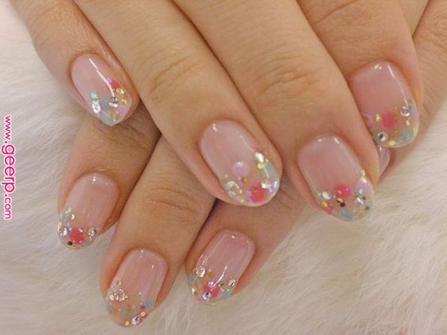 Nude nails with glitter on tips – LadyStyle | Fashion & Beauty in 2019 | Nai…