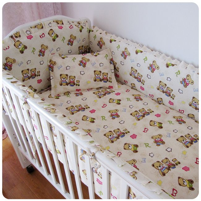 Promotion! 6PCS High quality baby cot bedding set cotton crib bumper baby cot sets baby bed bumper(bumpers+sheet+pillow cover)