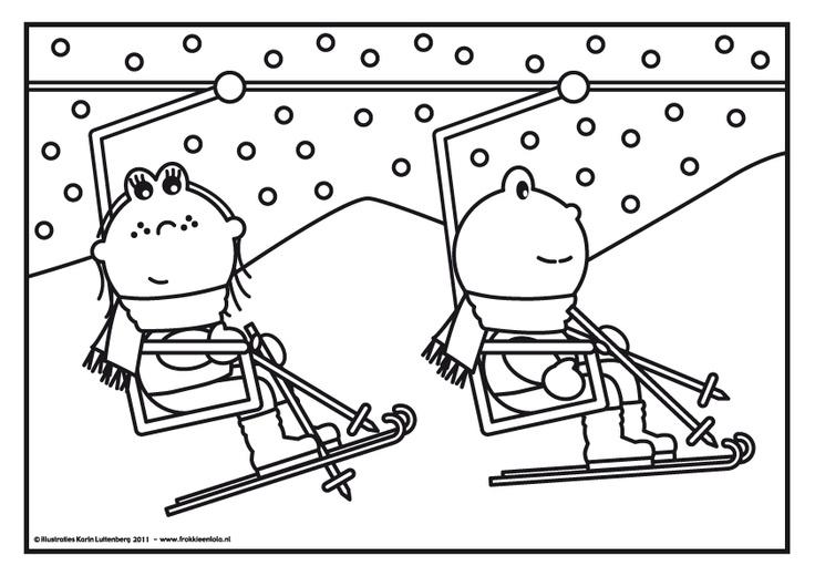 Kleurplaat Frokkie & Lola in de skilift