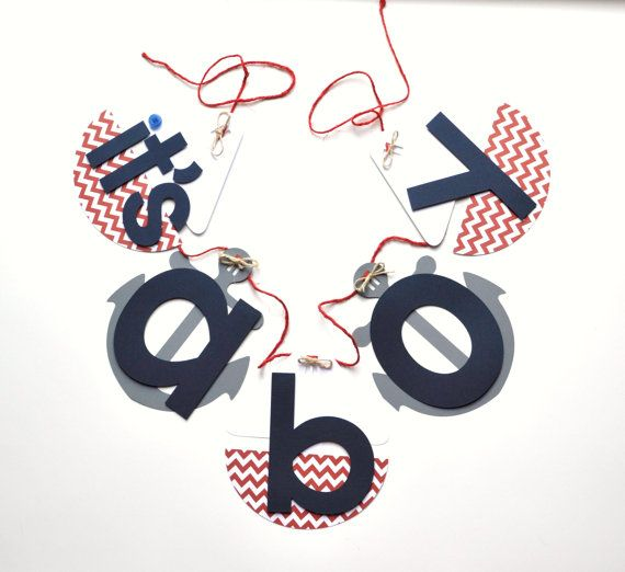 Nautical baby shower decorations red chevron and blue it's